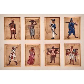 SET OF EIGHT INDIAN COMPANY PAINTINGS