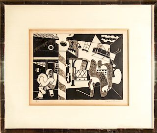 "Stuart Davis ""Two Figures and El"" Lithograph, 1931"