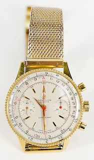 18 karat gold Breitling Chronomat mens wristwatch 217012 with stainless mesh band, probably model 808.  37mm