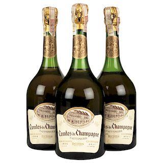 Taittinger. Cosecha 1966. Brut. Blanc de Blancs. Comtes de Champagne. Reims. Piezas: 3.