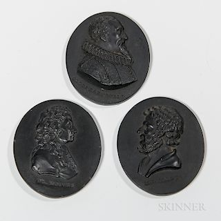 Three Wedgwood & Bentley Black Basalt Portrait Medallions