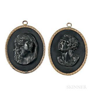 Pair of Wedgwood & Bentley Black Basalt Portrait Medallions