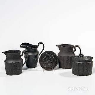 Five Black Basalt Wedgwood Contemporaries