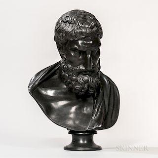 Wedgwood Black Basalt Library Bust of Eurypides