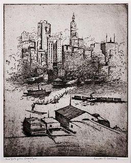 * Gustav Goetsch, (American, 1877-1969), New York From Brooklyn