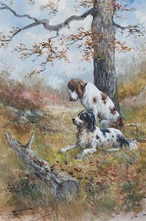 Hugo Anton Fisher, (American, 1854-1916), Two Sporting Dogs Beneath a Tree