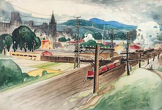* Marc-Aurele Fortin, (Canadian, 1888-1970), View of Hochelaga