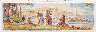 * Hazel Goetsch, (American 1892-1984), Nine Works: Mural Studies for St. Louis Post Office, c. 1939