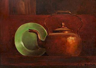 * Marc-Aurele Fortin, (Canadian, 1888-1970), Copper Kettle with Green Plate
