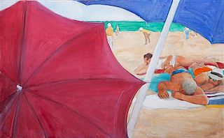 June Felter, (American, b. 1919), Beach Scene, 1975
