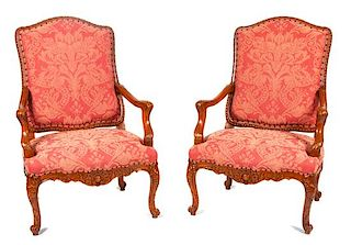 A Pair of Louis XV Style Fauteuils Height 43 1/2 inches.