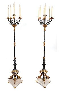 A Pair of Seven-Light Wrought Iron Torcheres Height 79 1/2 inches.