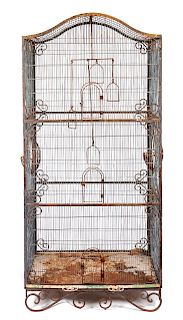 A Cast Iron Birdcage Height 78 1/2 x width 40 x depth 24 inches.