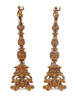 * A Pair of Continental Gilt Bronze Andirons Height 47 inches.