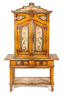 A Venetian Style Painted Cabinet on Stand Height overall 75 inches.