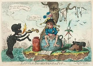 George Cruikshank, (British, 1792-1878), Little Boney Gone to Pot, The Plumb Pudding in Danger, and A Grand Manoeuvre