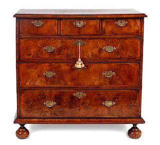 * A William and Mary Walnut Chest of Drawers Height 39 x width 39 3/4 x depth 21 inches.