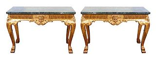 A Pair of George II Style Giltwood Console Tables Height 33 1/2 x width 48 x depth 20 inches.