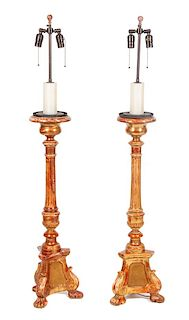 A Pair of Candlestick-form Lamps Height of base 34 inches.