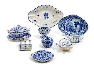 A Group of Blue and White Porcelain Table Articles Width of widest 10 1/2 inches.