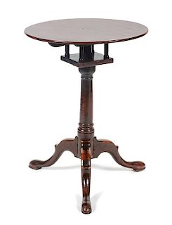 * A George III Mahogany Tilt-Top Table Height 25 1/2 x diameter 19 1/2 inches.