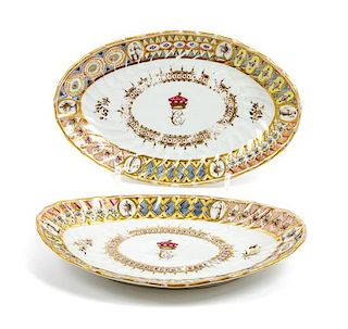 * A Pair of Worcester Porcelain Trays Width 9 inches.