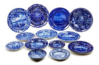 * A Collection of Transfer Decorated Stoneware Articles Diameter of first 10 inches.