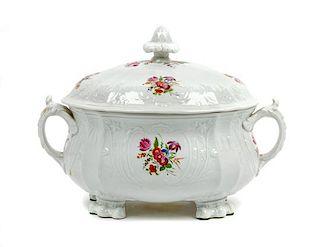 * A Coalport Porcelain Tureen Width 12 1/2 inches.
