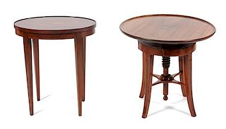 * Two Georgian Style Mahogany End Tables Height of taller 20 inches.