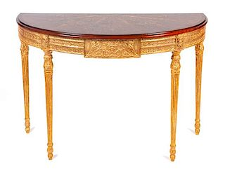 A Pair of Demilune Console Tables Height 32 x width 37 x depth 21 inches.