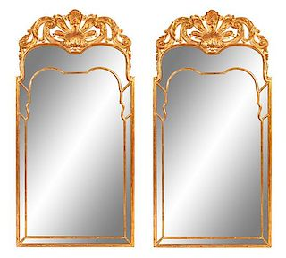 A Pair of Regency Style Giltwood Mirrors Height 60 x width 30 inches.