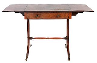 * A Regency Mahogany Sofa Table Height 28 x width 46 1/4 x depth 26 1/2 inches (open).