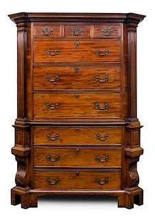 An English Chest-on-Chest Height 72 1/2 x width 52 1/2 x depth 25 inches.