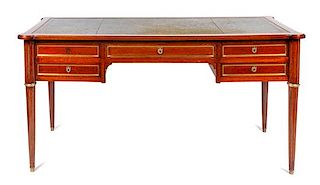 A Directoire Style Mahogany Bureau Plat Height 30 x width 58 x depth 31 inches.