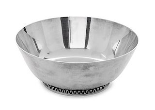 A Danish Silver Bowl, Sigvard Bernadotte for Georg Jenson, Copenhagen, with shallow tapered sides and a circular foot ring havin