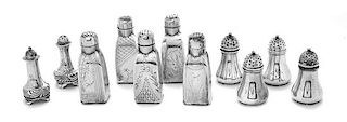 * A Collection of American and English Silver Salt and Pepper Shakers, Tiffany & Co., Gorham Mfg. Co., and English Sterling, of
