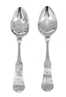 Two American Coin Silver Tablespoons, D.C. Jaccard & Co., St. Louis, MO, Late 19th Century, of fiddle-form.