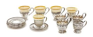 * A Group of American Silver Demitasse Cups and Saucers, Frank M. Whiting Co. and International Sterling, comprising 9 cups with