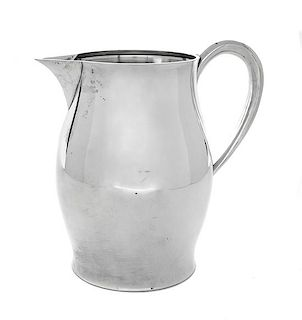 An American Silver Pitcher, Tuttle Silversmiths, Boston, MA, 1953,