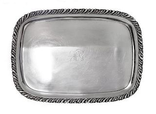 * An American Silver Tray, Gorham Mfg Co., Providence, RI, monogrammed in the center.