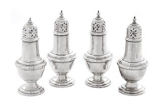 * A Set of Four American Silver Casters, Gorham Mfg. Co., Providence, RI,