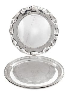* Two American Silver Trays, Gorham Mfg. Co., Providence, RI, both monogrammed.