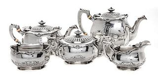* An American Five-Piece Silver Tea Service, Gorham Mfg. Co., Providence, RI, comprising teapot, coffee pot, creamer, sugar and