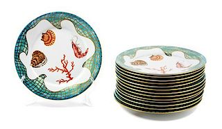 * Fourteen Lynn Chase Porcelain Salad Plates Diameter: 8 3/4 inches.