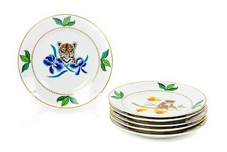 * Six Lynn Chase Porcelain Canape Plates Diameter: 5 3/4 inches.