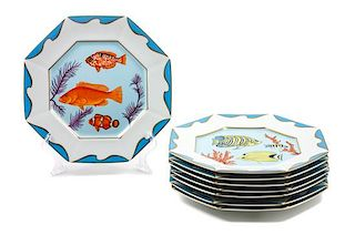 * Eight Lynn Chase Porcelain Dinner Plates Diameter: 10 1/4 inches.