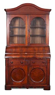 An American Empire Mahogany Secretary Bookcase Height 84 x width 42 3/4 x depth 21 inches.