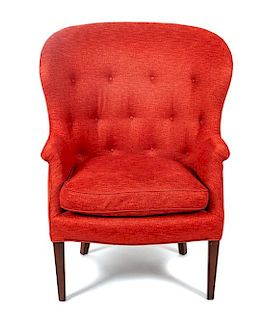 * A Modern Button-Tufted Armchair Height 43 1/2 inches.