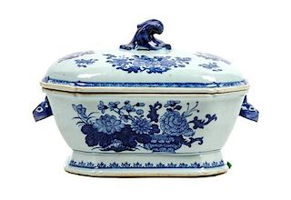 * A Chinese Export Porcelain Tureen Width 13 inches.