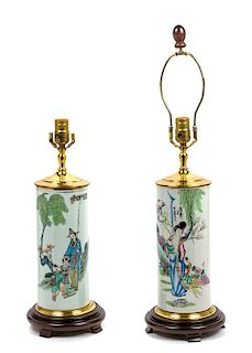 * A Pair of Chinese Porcelain Vases Height overall 19 1/2 inches.